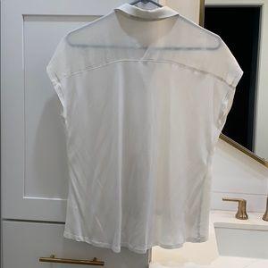 Trouve Tops - Trouve Silk & Cotton cream hi-lo blouse